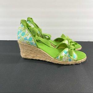 Lilly Pulitzer Espadrille Wedge Tie Sandals.